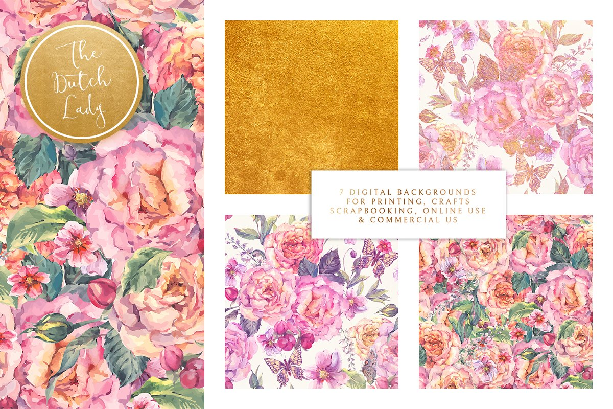 Floral Background Paper Elizabet Custom Designed Textures