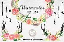 Watercolor tribal flower cliparts