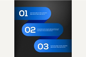 Vector bright 3D blue banners set
