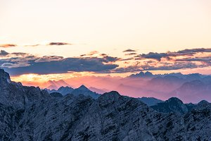 Beautiful sunset in the Alps