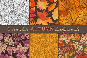 6 seamless autumn patterns