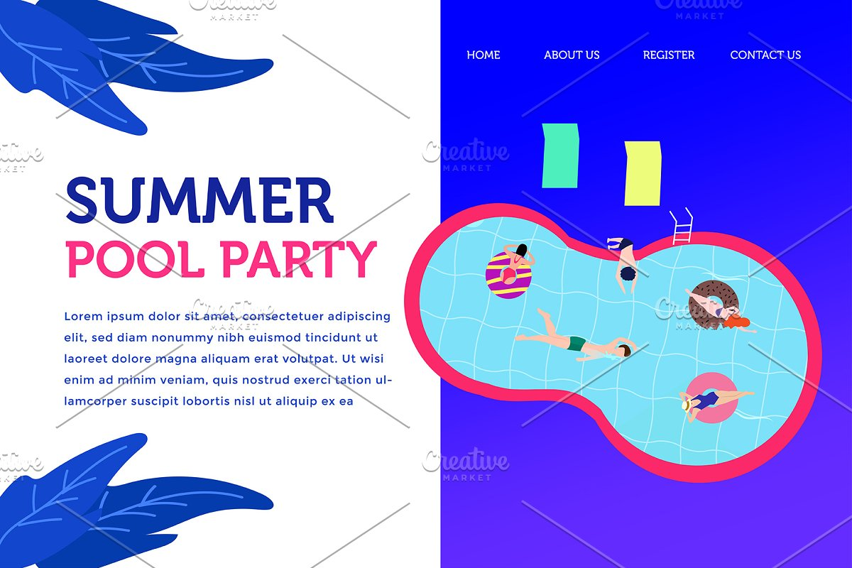Landing page summer pool party