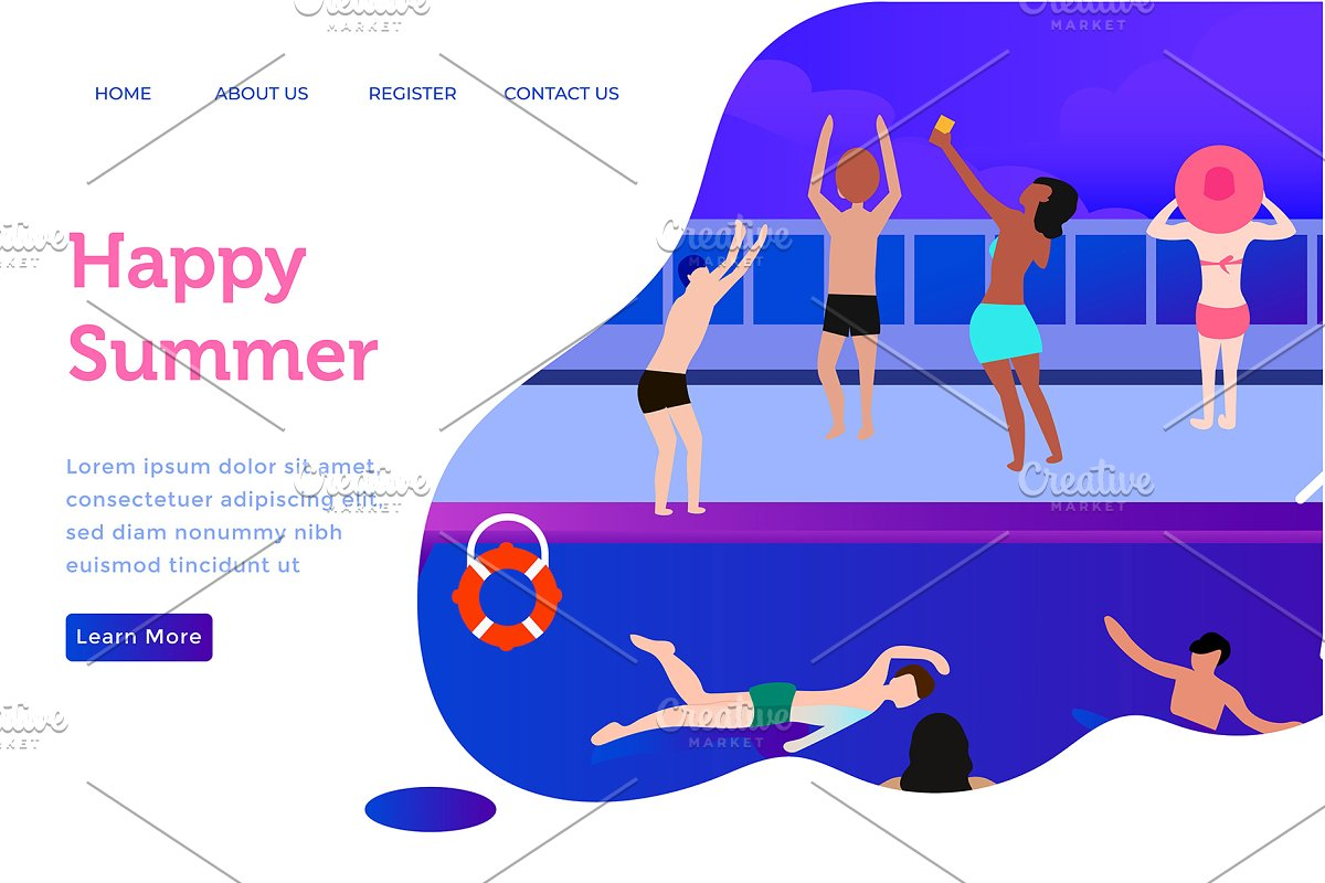 Landing page happy summer