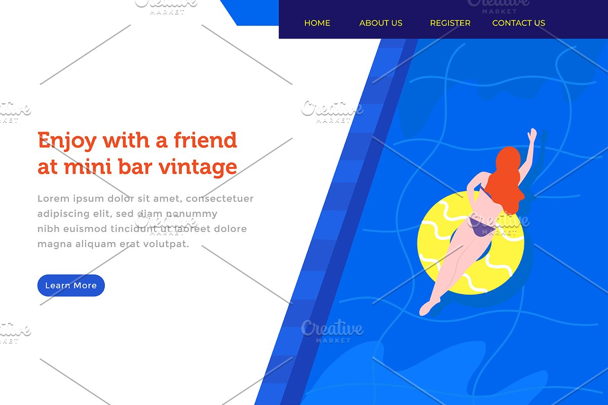 landing page woman enjoy in the pool