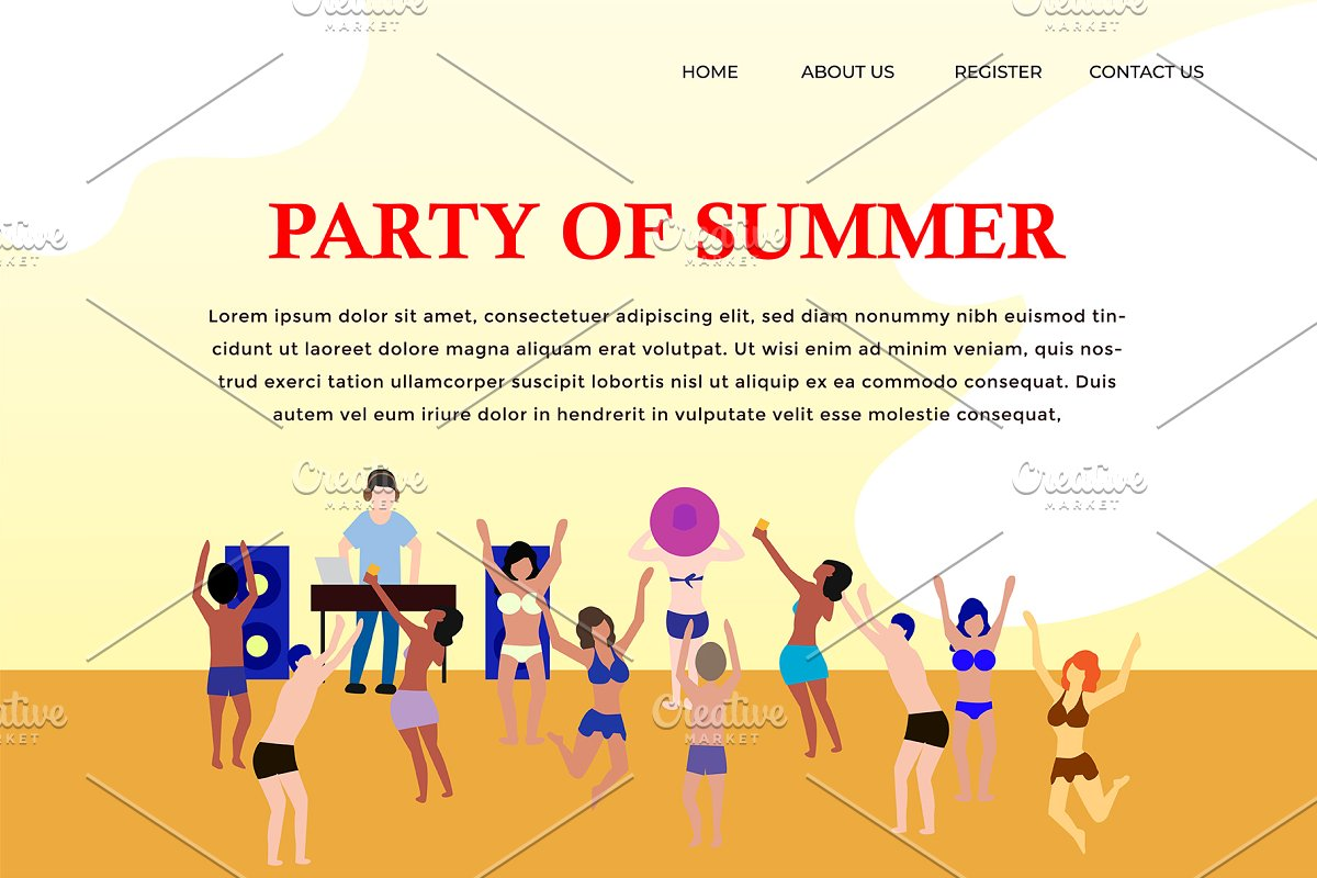 Landing Page people party