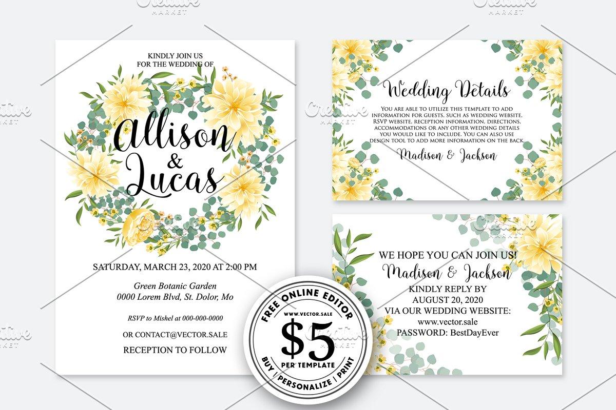 Wedding Invitation yellow dahlia