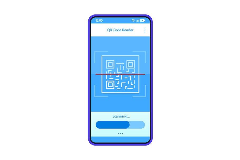QR code scanning app interface vecto