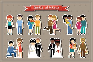 Stickers of family life.