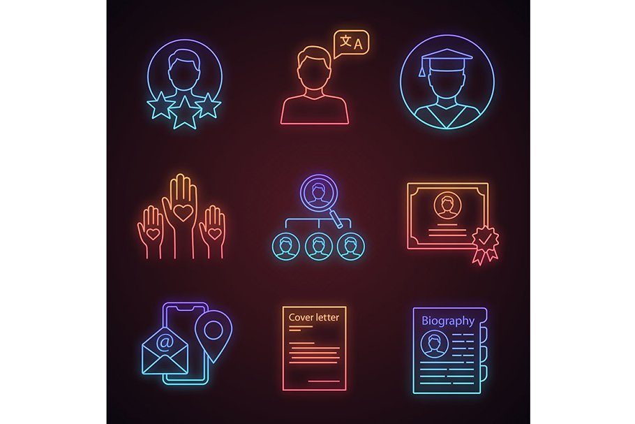 Resume neon light icons set