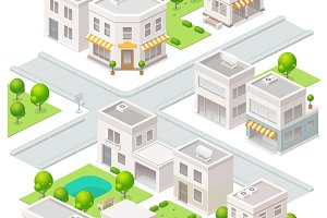 City isometric buildings.