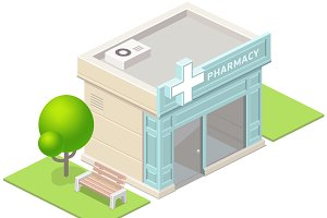 Isometric pharmacy building and tree