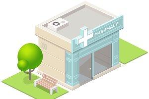 Isometric pharmacy building and tree