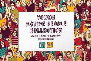 Young active people vector set