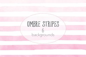 Ombre watercolor stripes