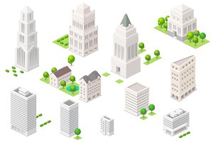 Set of the isometric city elements