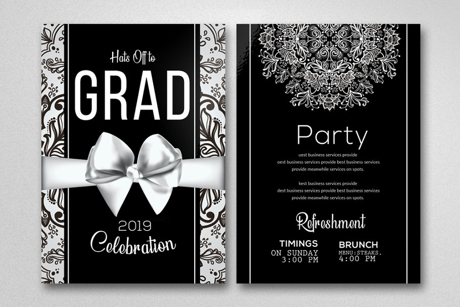 elegant graduation invitation card  creative flyer