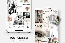 Instagram PUZZLE template - Floral by  in Social Media