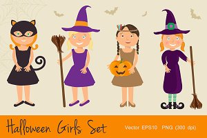 Halloween Cartoon Girls Set