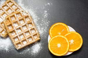 Waffles and oranges