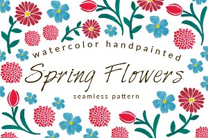 Spring Flowers Seamless Pattern Pack
