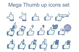 Big set social likes icons