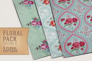 9 Floral Patterns Vol 8