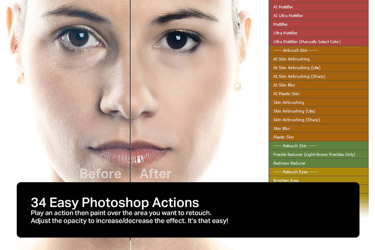 Skin 3 0 - 34 Retouching Actions ~ Photoshop Add-Ons ~ Creative Market