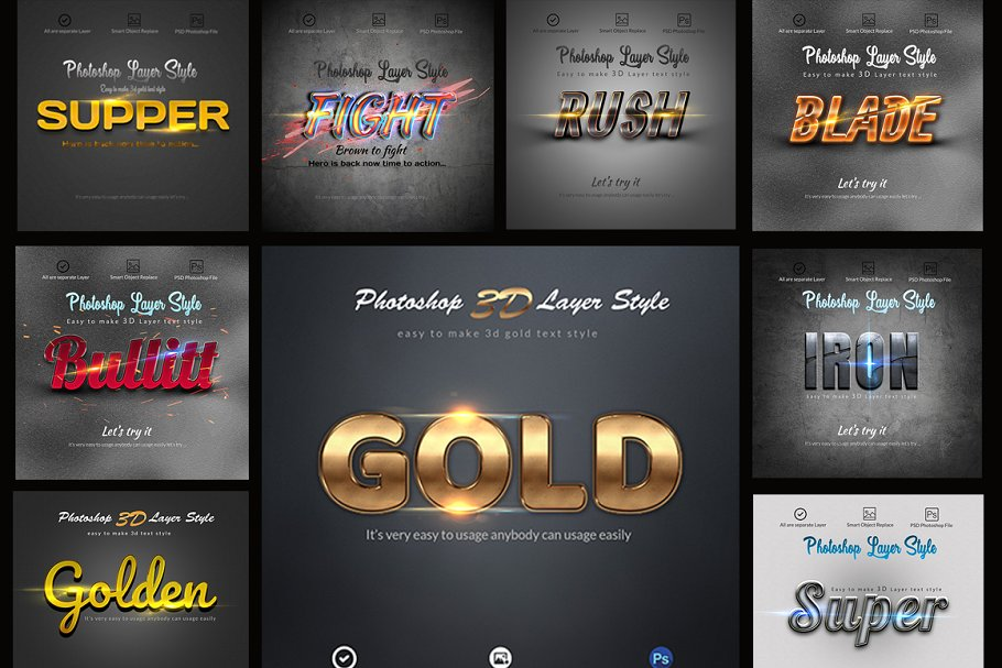 3D Bundle Photoshop Layer Style ~ Photoshop Add-Ons ~ Creative Market