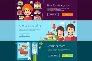 Real Estate Agency Banners Set