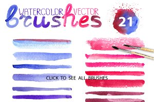 Watercolor vector brushes.Mini set