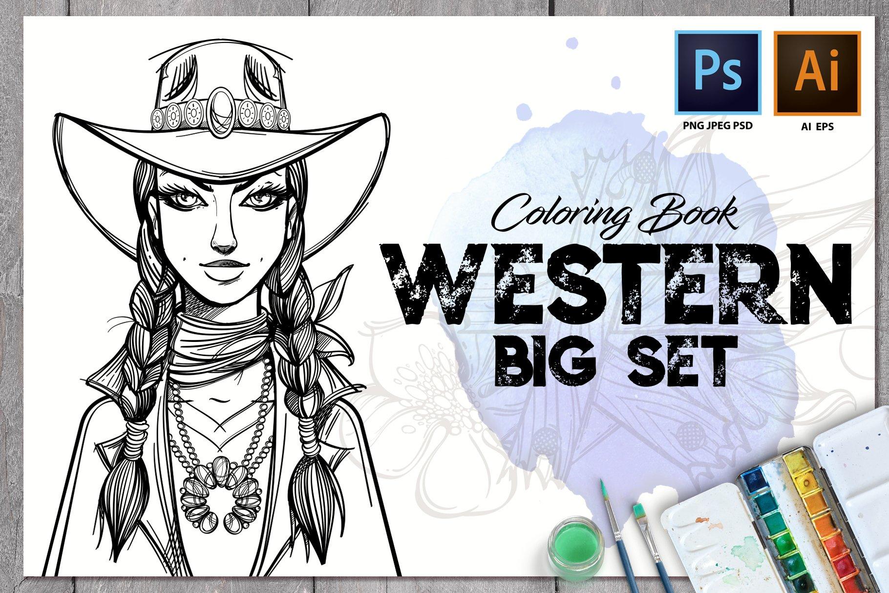 Western. Big Set. Coloring Book ~ Illustrations ~ Creative ...