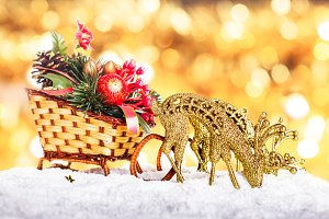 Christmas decor: sleigh and reindeer