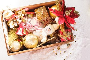 Box with christmas decoration