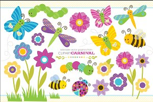 Cute Baby Bug Clipart Graphic Set