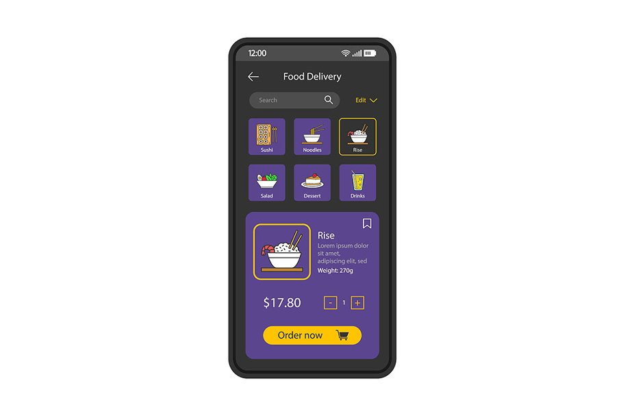 Food delivery smartphone app