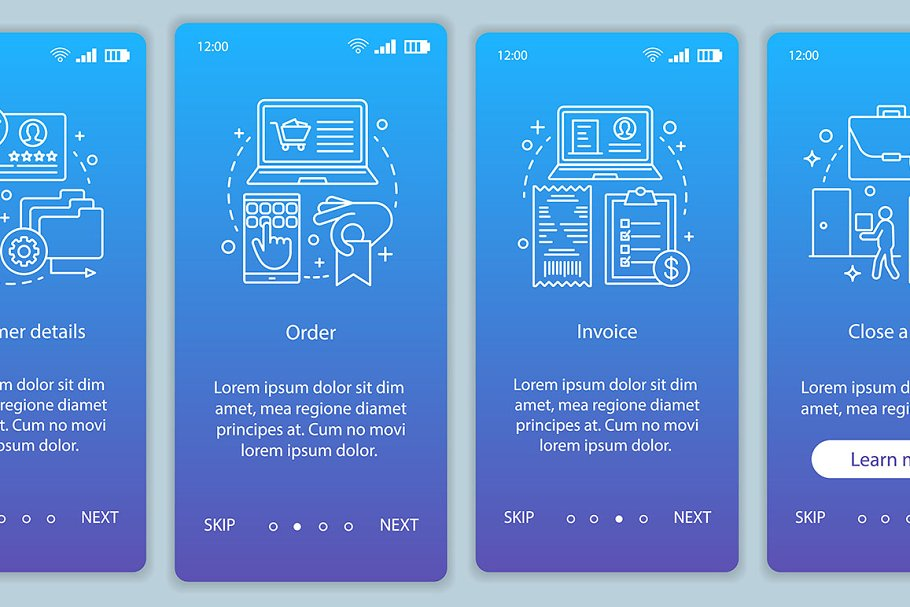 Internet shopping app page screen