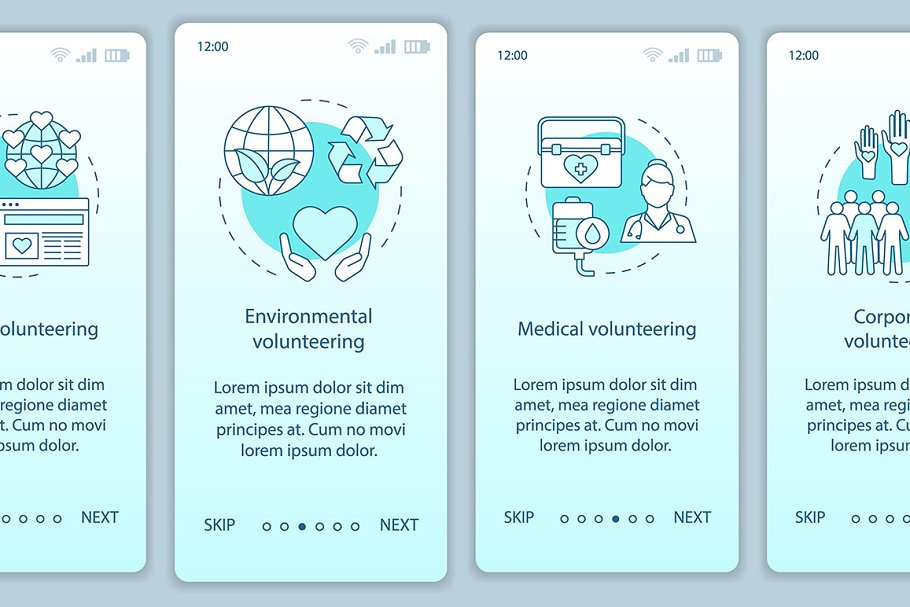 Volunteering types mobile app pages
