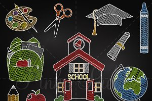 Chalkboard School & Teacher Clipart