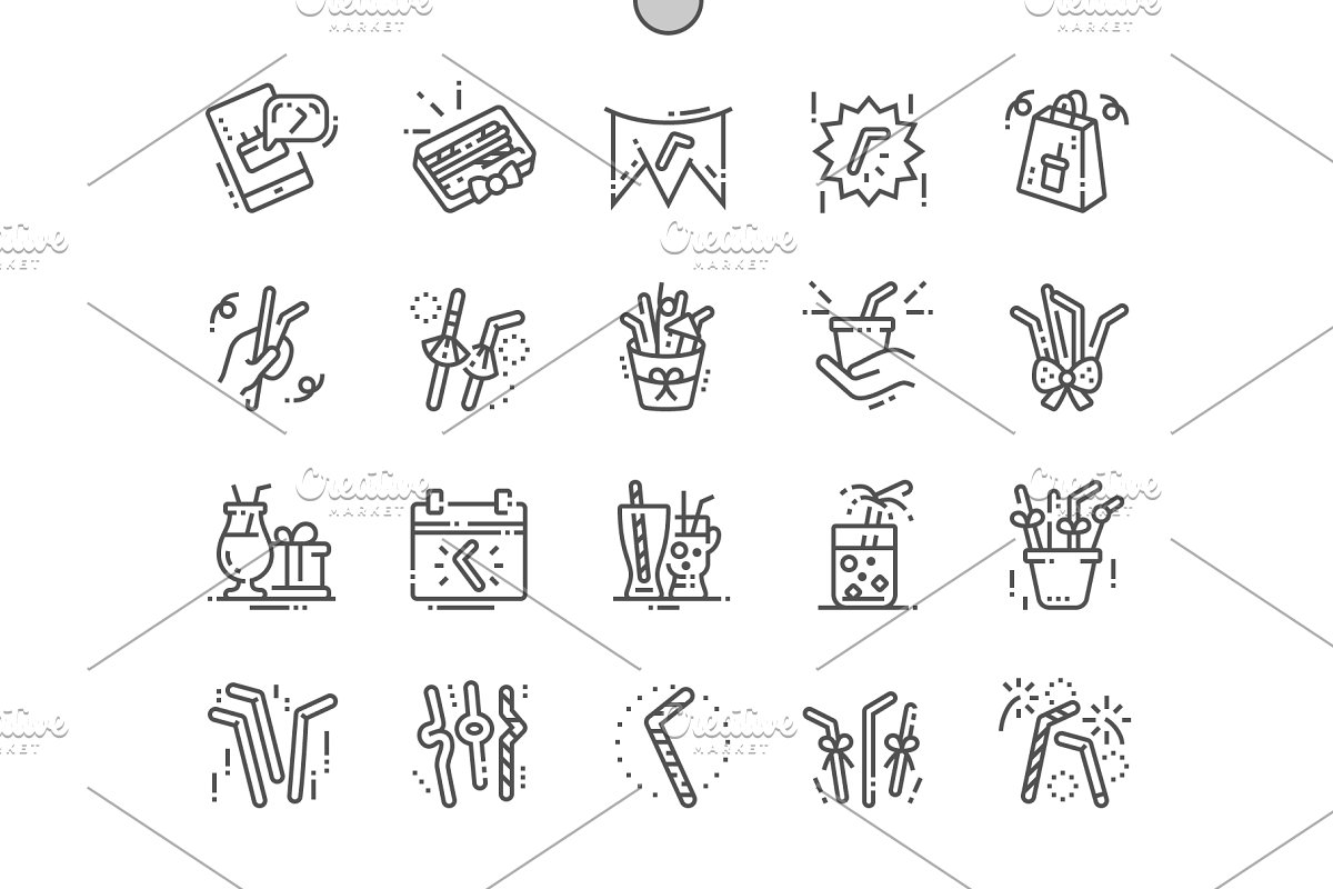 Drinking Straw Day Line Icons