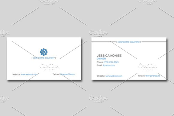 Simple Corporate Business Card in Business Card Templates - product preview 1