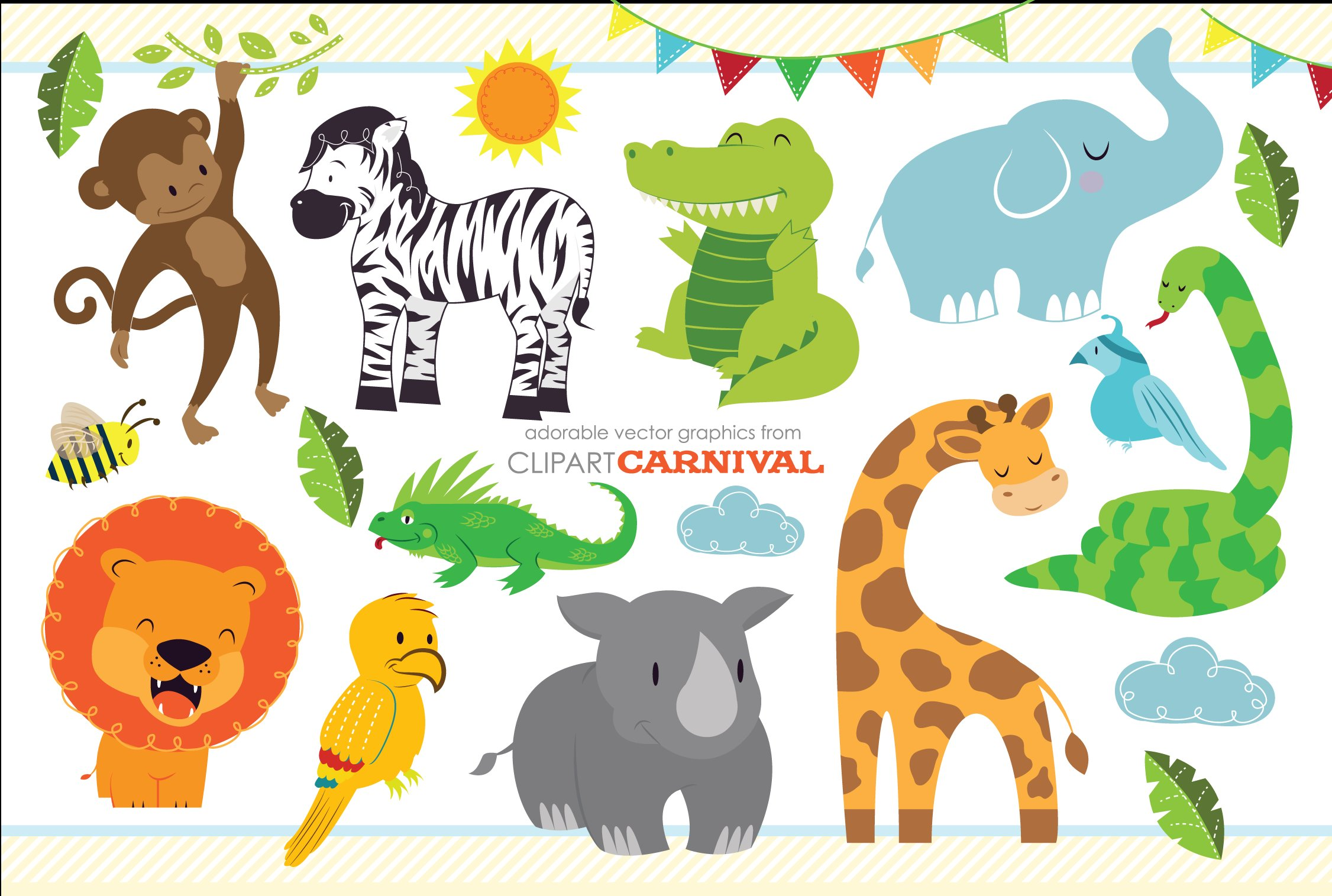 Cute Baby Jungle Safari Animals Art Illustrations