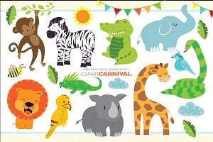 Cute Baby Jungle Safari Animals Art