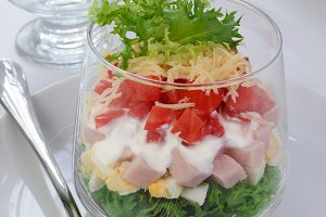 Multi-layer salad in a glass