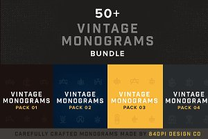 50+ Vintage Monograms Bundle