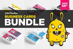 Cute Monsters Business Card Bundle