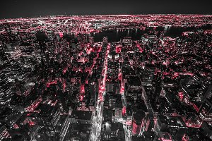 Landscape over New York City in red
