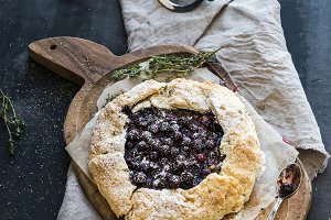 Homemade pie with blueberries