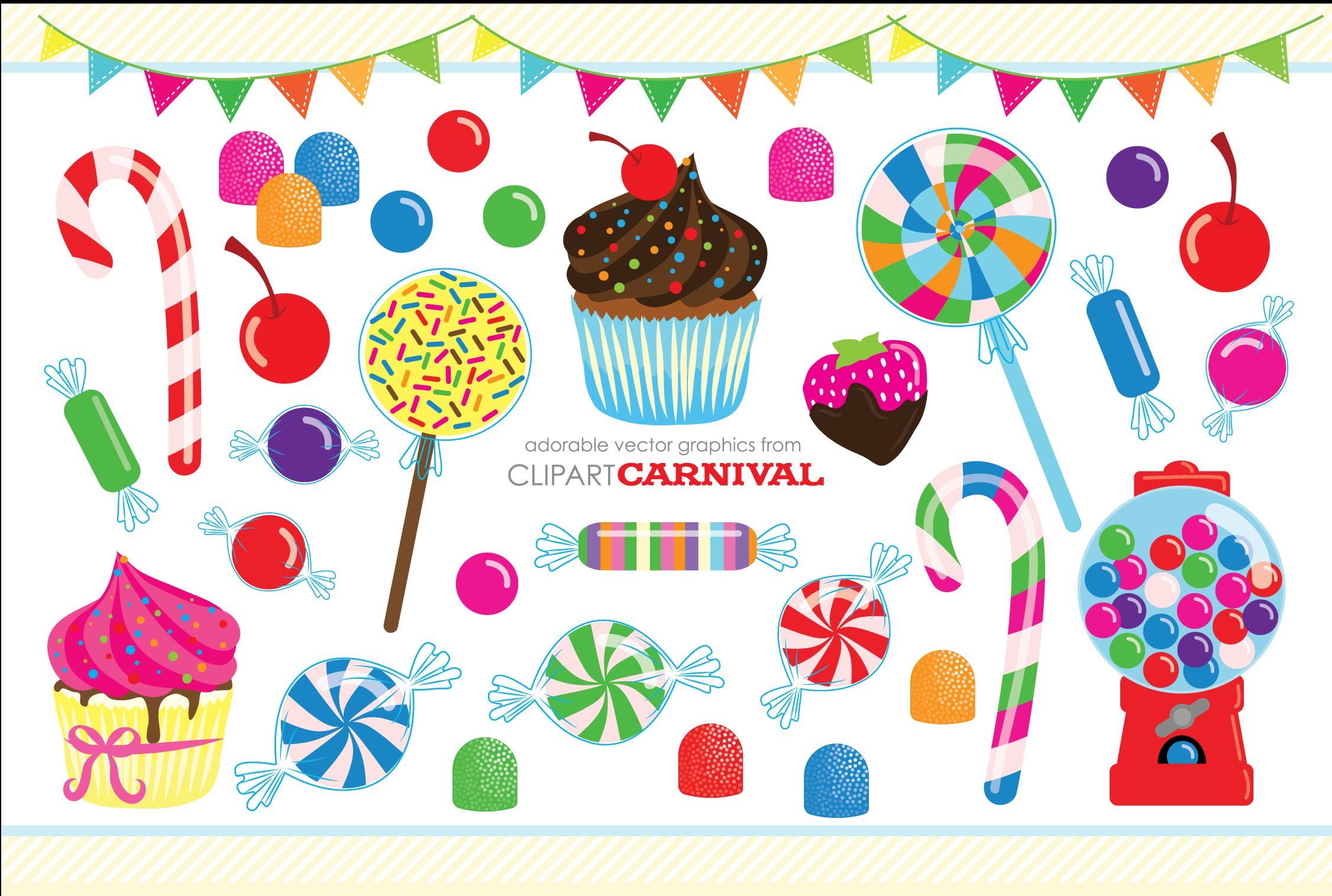 Cute Candy Coated Clipart Cupcakes ~ Illustrations ...