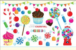 Cute Candy Coated Clipart Cupcakes