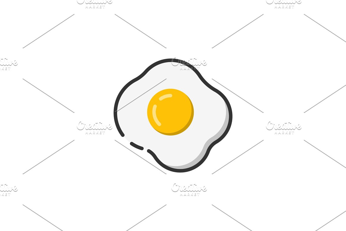 Fried egg icon color outline icon in Icons - product preview 8
